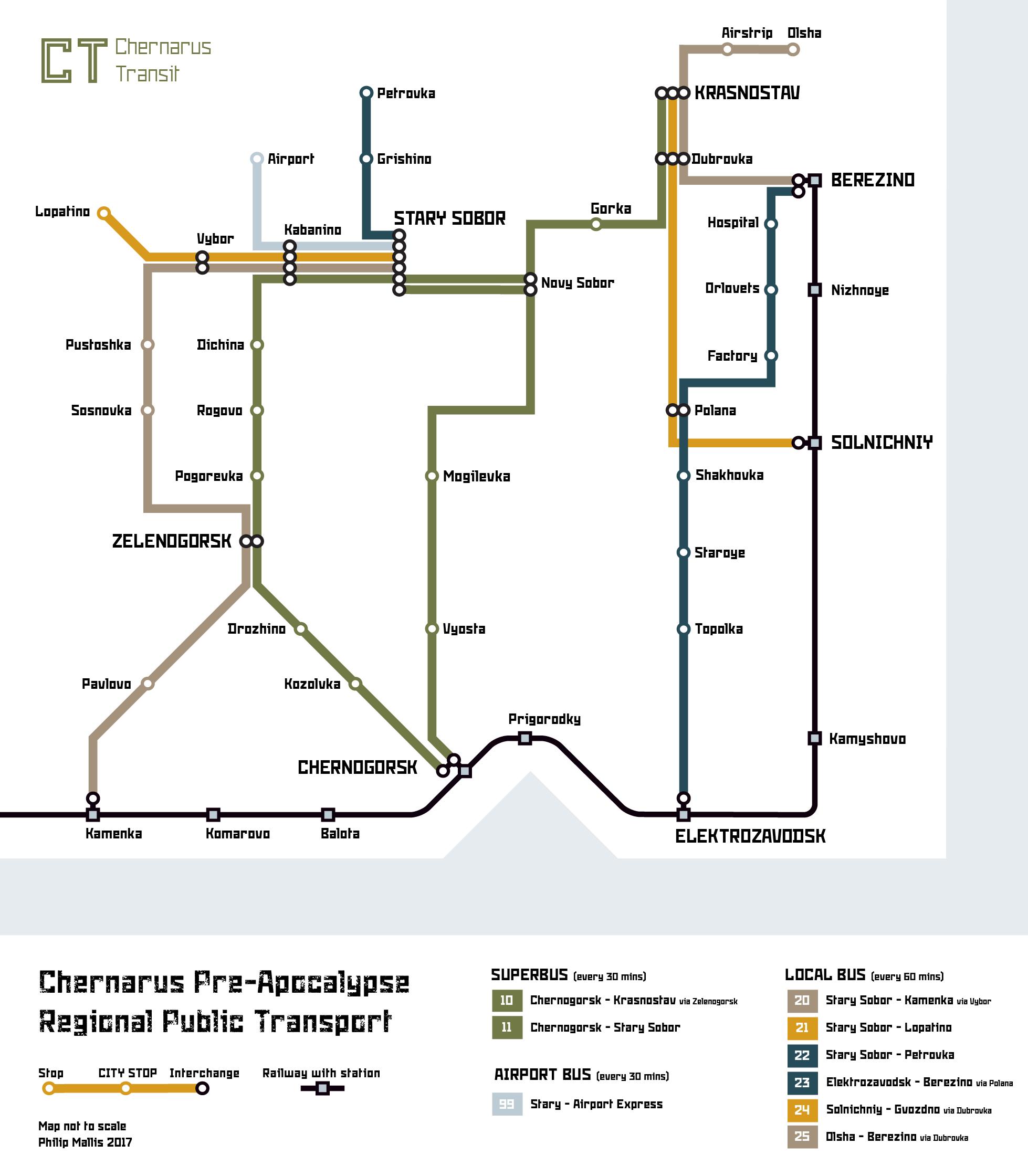 Transport map of Chernarus in soviet colours