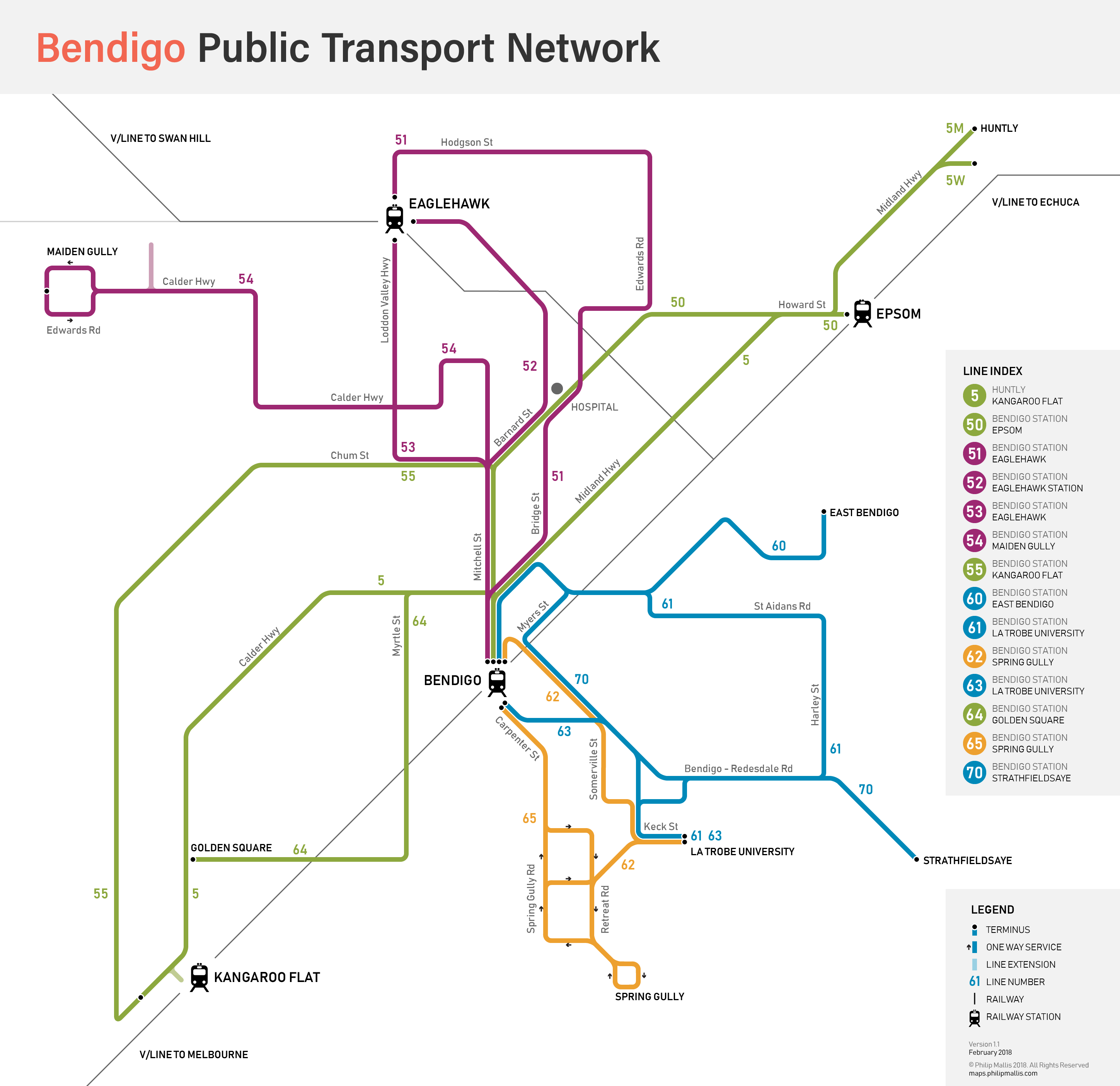 Public transport map of Bendigo