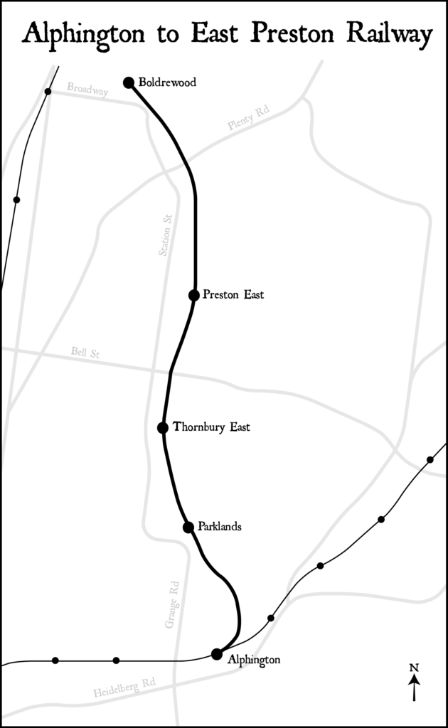 Black and white map showing route of proposed Alphington to East Preston Railway from Alphington to Boldrewood Parade in Reservoir