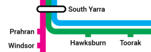 Close up of rail network map for Melbourne showing interchange at South Yarra Station with pink Sandringham Line, Green Frankston Line and Blue Cranbourne and Pakenham Line all visible